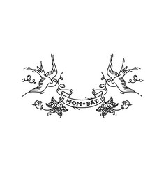 tattoo swallows with inscription mom dad vector image