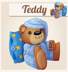 teddy bear in pajamas with pillow vector image