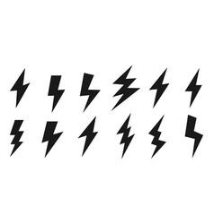 Thunder and lighting icons set vector