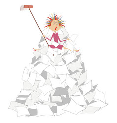 Tired woman brush and big pile of papers vector