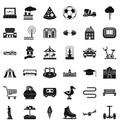 Town icons set simple style vector