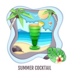 Tropic cocktail on sea beach landscape paper cut vector