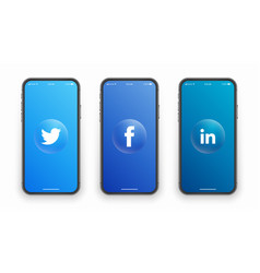 Twitter facebook linkedin logo on iphone screen vector