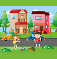 two boys raking leaves in the yard vector image
