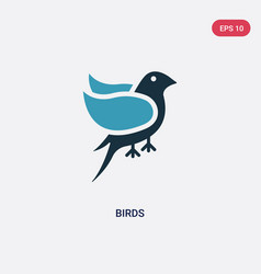 Two color birds icon from logo concept isolated vector