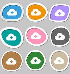 Upload from cloud icon symbols Multicolored paper vector image