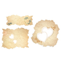 Vintage paper pieces with heart vector image