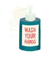 Wash your hands soap liquid vector