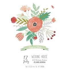 wedding romantic floral save date invitations vector image