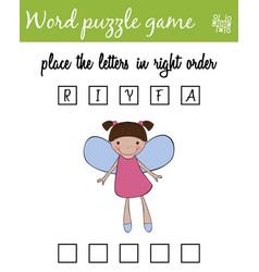 Words puzzle game with fairy place the letters in vector