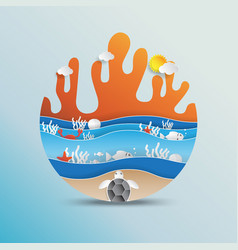 World oceans day concept design with paper art vector