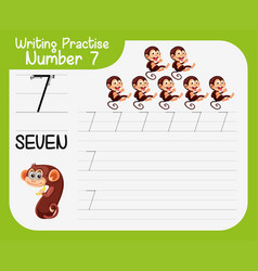 Writing practise number seven vector