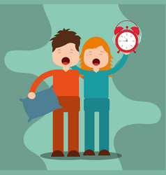 young boy and girl waking up holding pillow and vector image