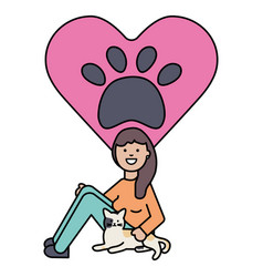young woman with cute cat mascot vector image