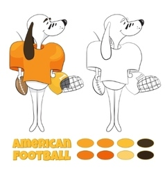 Cartoon dog playing american football vector