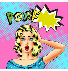pop art beautiful blond woman with pooof vector image