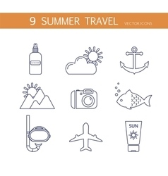Summer travel icons set vector image vector image