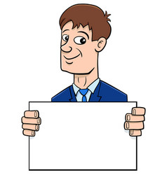 cartoon businessman with board vector image vector image