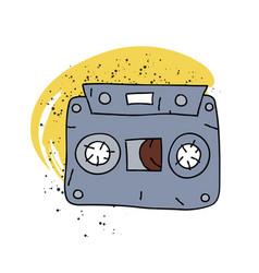 cassette tape cartoon hand drawn image vector image