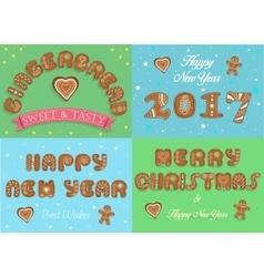 Happy New Year 2017 Merry Christmas Gingerbread vector image