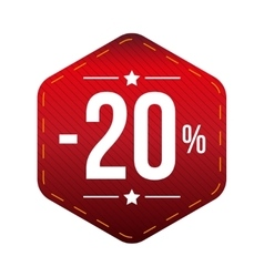 Sale twenty percent off banner red patch vector image