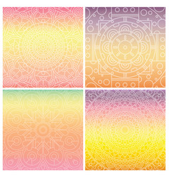 set of cards with indian mandala on tender vector image vector image