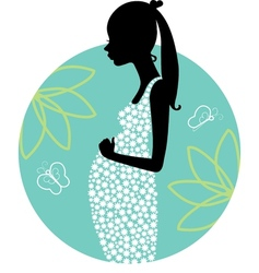 Silhouette of young pregnant woman vector image