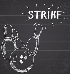 Sport bowling ball and pins Hand drawn sketch vector image