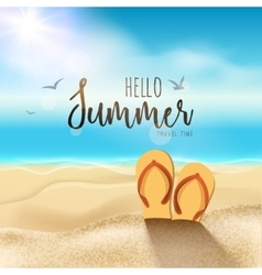 Summer beach travel design Sun with sand and vector image vector image