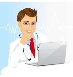 young doctor using his laptop computer vector image