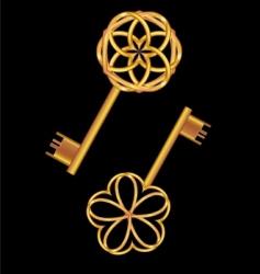 3d golden vintage key vector image