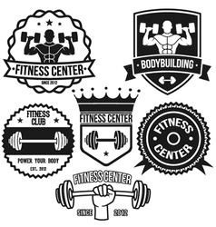 Bodybuilding And Fitness Badges vector image