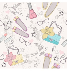 Cute fashion seamless pattern for girls vector
