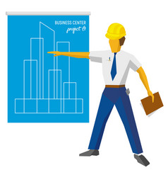 Engineer builder show blueprint with project vector
