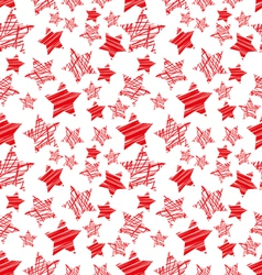 seamless red star pattern vector image
