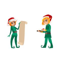 Two christmas elves present list document folder vector