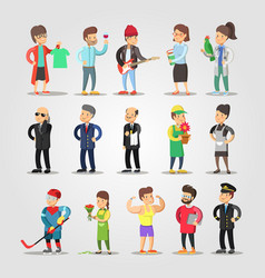cartoon people professions set with musician vector image vector image