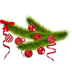 christmas branch with hanging christmas balls vector image