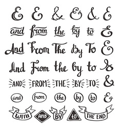 Collection of hand sketched ampersands and vector