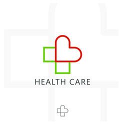cross plus heart medical logo icon design vector image
