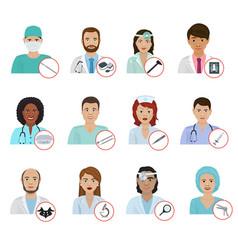 different doctors avatar face portraits hospital vector image