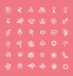 flower icon set - vector image