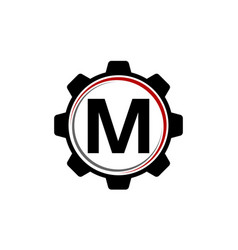 gear solution logo letter m vector image vector image