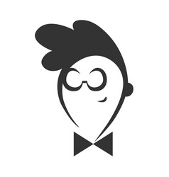 geek guy with a bow tie symbol icon vector image