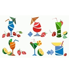 Glasses cocktails fruit strawberry cherry lime vector image