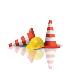 hard cap with traffic cones vector image