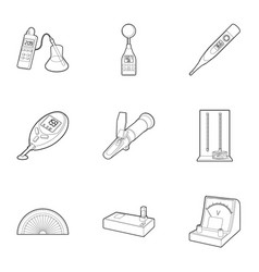 Precision instrument icons set outline style vector