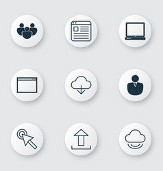set of 9 online connection icons includes save vector image vector image