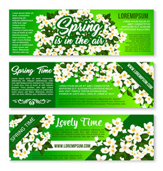 spring flower bunch banner flyer template design vector image