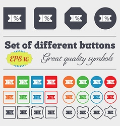 Ticket discount icon sign big set of colorful vector